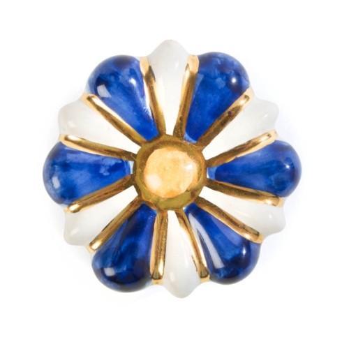 $32.00 Flower Power Knob - Blue & White
