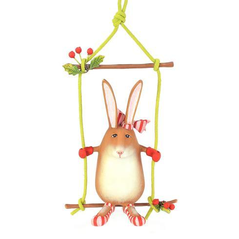 $40.00 Rebecca Rabbit On Swing Ornament