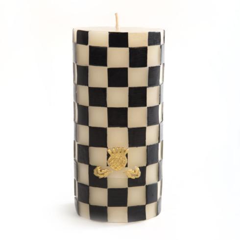 "MacKenzie-Childs Glow Pillar & Dinner Candles Check Pillar Candle - 6"" - Black & White $35.00"