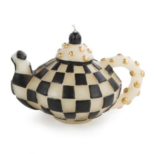 $38.00 Check Teapot Candle - Black
