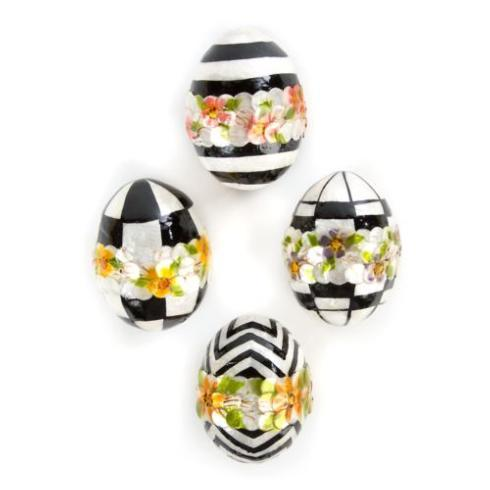 Black & White Floral Eggs - Small - Set of 4 image
