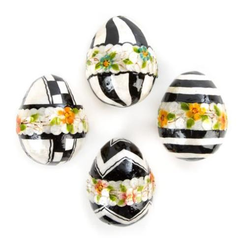 Black & White Floral Eggs - Medium - Set of 4 image