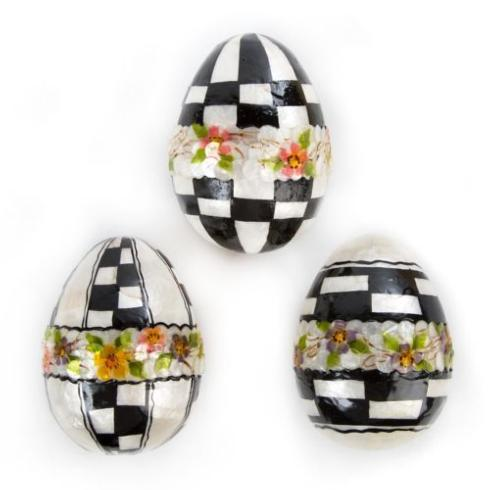 Black & White Floral Eggs - Large - Set of 3 image