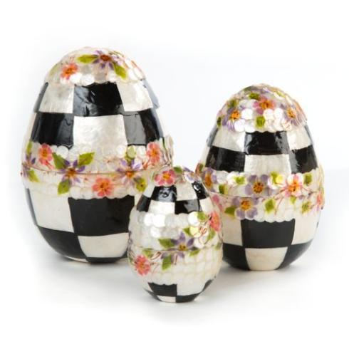 Black & White Floral Nesting Eggs - Set of 3 image