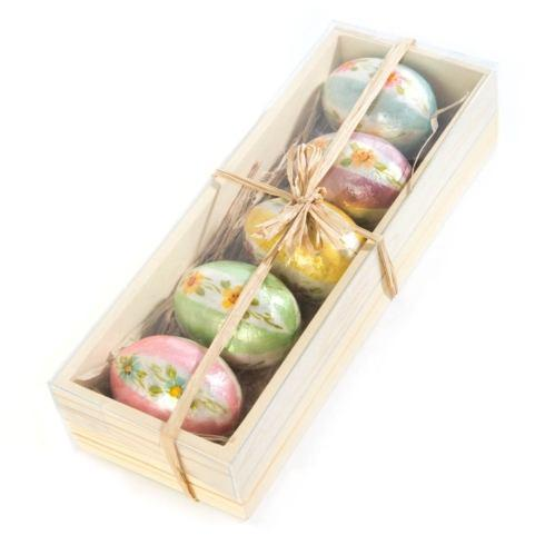 $54.00 Honeymoon Stripe Egg Ornaments - Set of 5