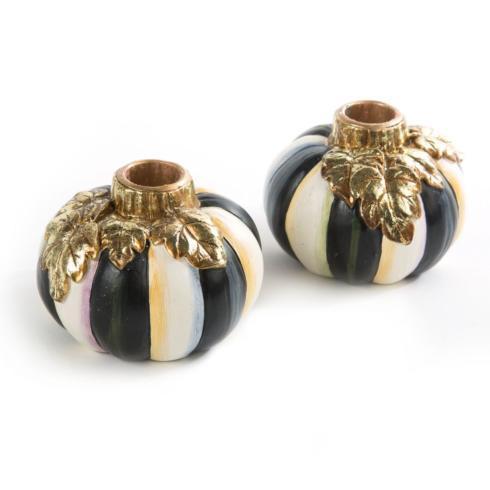 $68.00 Courtly Stripe Pumpkin Candlesticks - Set of 2