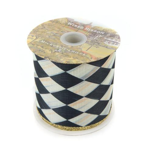 "$68.00 Courtly Harlequin 4"" Ribbon - Gold Back"