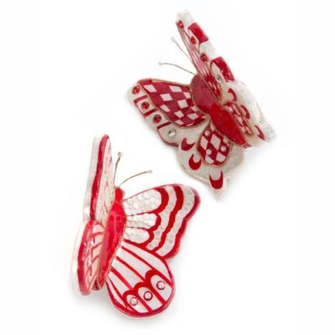 $68.00 Butterfly Ornaments - Red - Set of 2