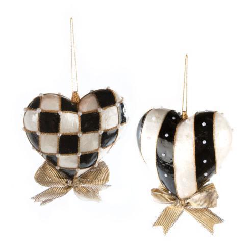 $48.00 Black & White Heart Ornament - Large