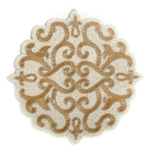 $35.00 Scroll Beaded Placemat - Gold