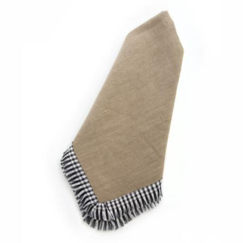 $25.00 Gingham Trim Napkin - Bark