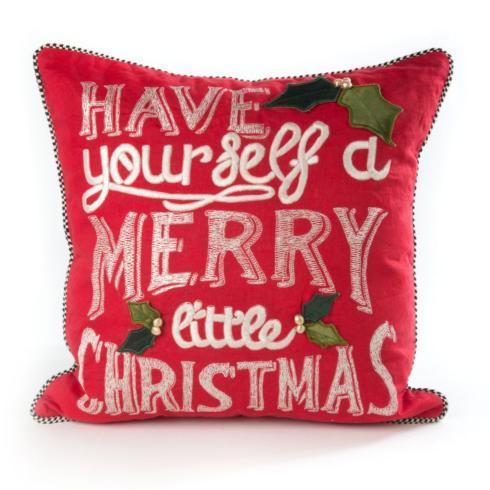 MacKenzie-Childs  Holiday Decor Merry Little Christmas Pillow $95.00