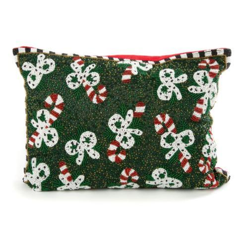 $85.00 Candy Cane Beaded Pillow