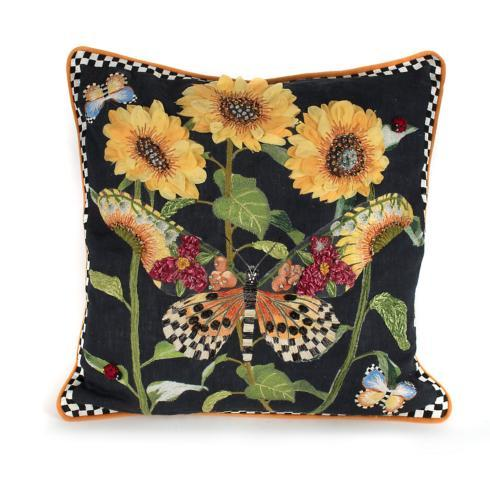 $248.00 Monarch Butterfly Square Pillow - Black