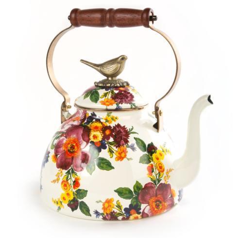MacKenzie-Childs  Flower Market  3 Qt. Tea Kettle w/ Bird Finial $158.00