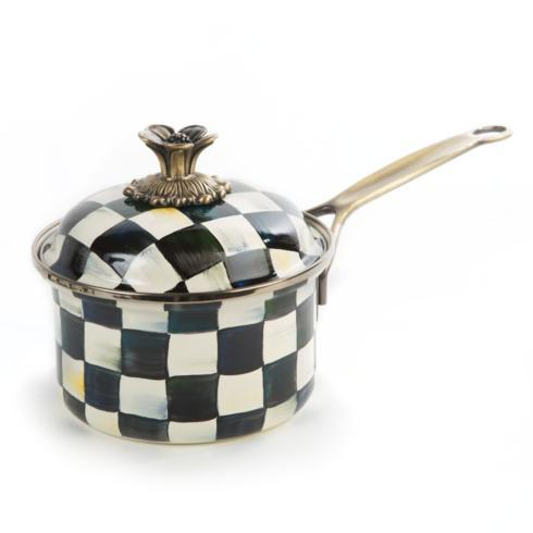 MacKenzie-Childs Courtly Check Kitchen Enamel 1 Qt. Saucepan $135.00