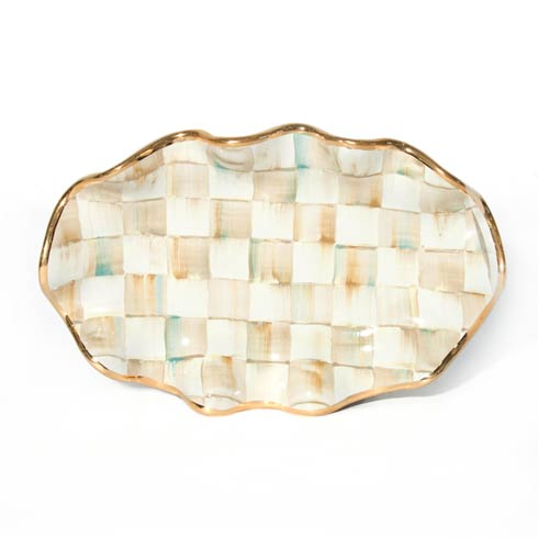 MacKenzie-Childs  Parchment Check Small Fluted Oval Platter $62.50