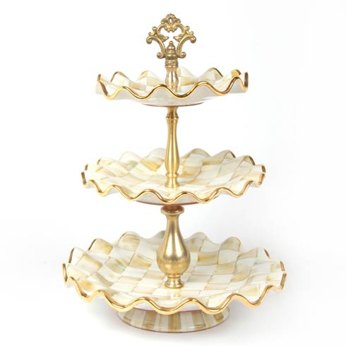 MacKenzie-Childs  Parchment Check Three Tier Sweet Stand $550.00