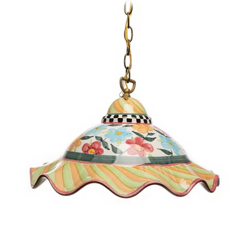 $550.00 Painted Garden Fluted Hanging Lamp