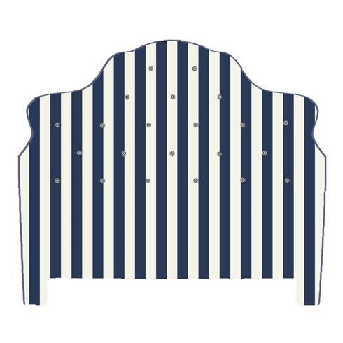 $2,495.00 Marquee Headboard - Chenille Navy Stripe - King