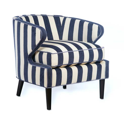 $2,095.00 Marquee Accent Chair - Chenille Navy Stripe