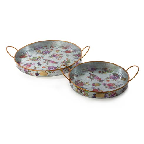 MacKenzie-Childs Flower Market Decor Galvanized Outdoor Trays - Set Of 2 $98.00