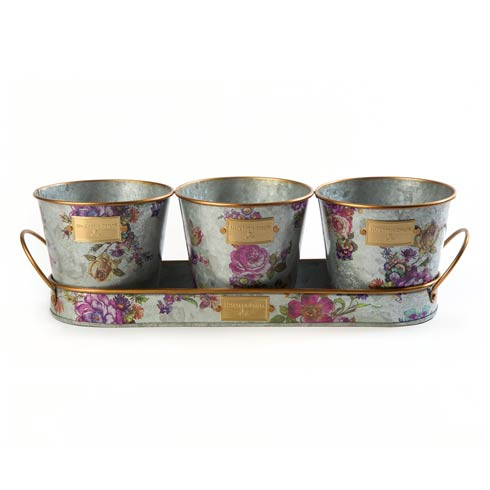 $48.00 Galvanized Herb Pots With Tray - Set Of 3