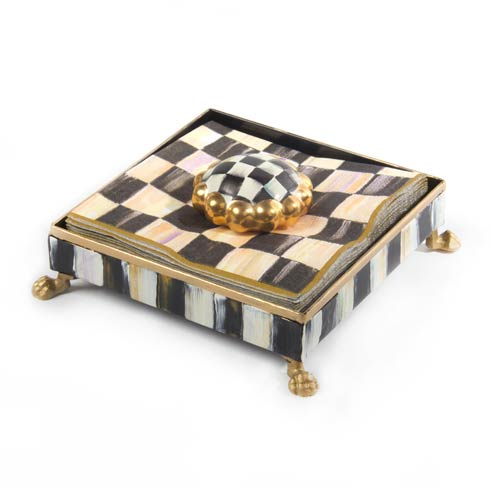 MacKenzie-Childs Courtly Check Tabletop Cocktail Napkin Holder Set - Gold $98.00
