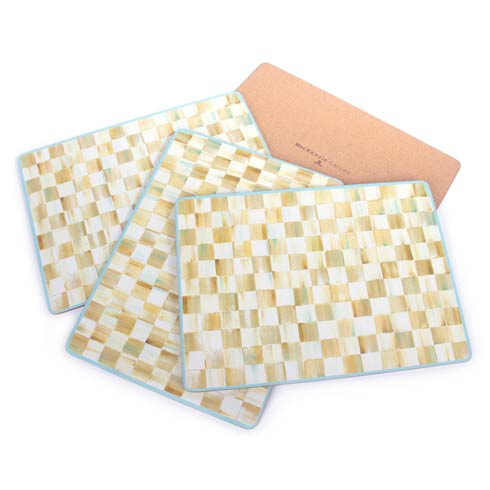 MacKenzie-Childs  Parchment Check Cork Back Placemats - Set of 4 $75.00