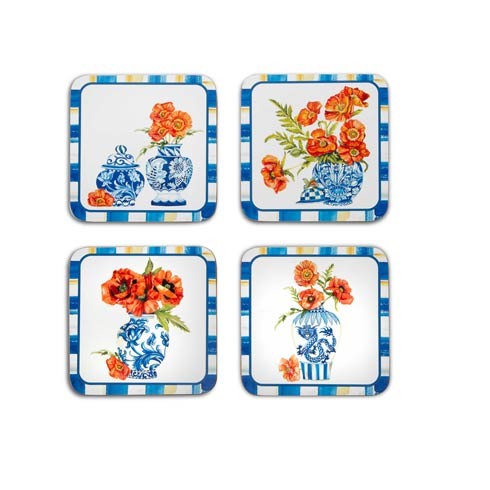 $32.00 Chinoiserie Cork Back 1131 - Set of 4