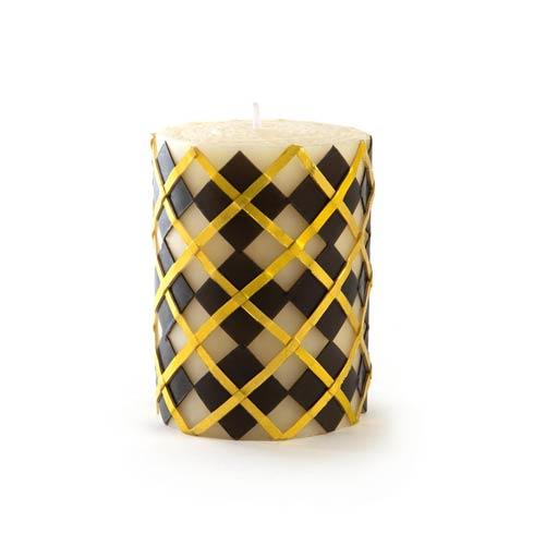"MacKenzie-Childs Glow Pillar & Dinner Candles Argyle Pillar Candle - 4"" - Black & Gold $28.00"