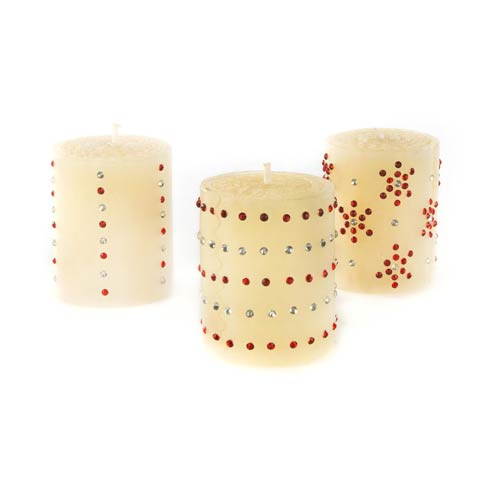 $25.00 Sparkle Mini Pillar Candles - Set Of 3
