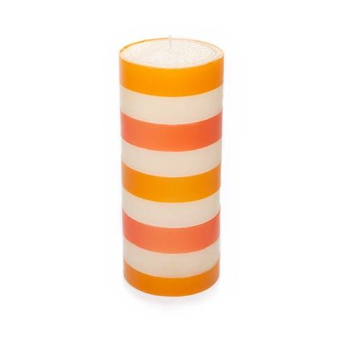 """$35.00 Multi Band Pillar Candle - 6"""" - Orange, Ivory, Red"""