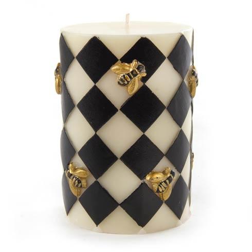 "$28.00 Bee Pillar Candle - 4"" - Black"