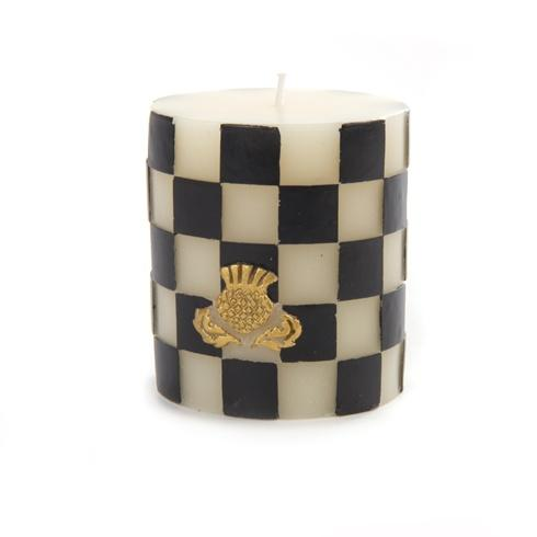 $32.00 Black & White Check Pillar Candle - 3 In.