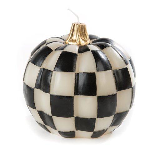 $48.00 Black & White Check Pumpkin Candle