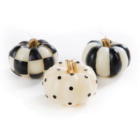 $38.00 Black & White Mini Pumpkin Candles - Set of 3