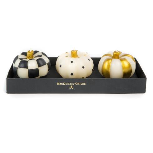 $35.00 Mini Pumpkin Candles - Black & Gold - Set Of 3