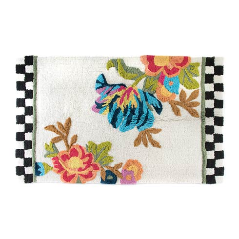 $145.00 Flower Market Bath Rug White - Large