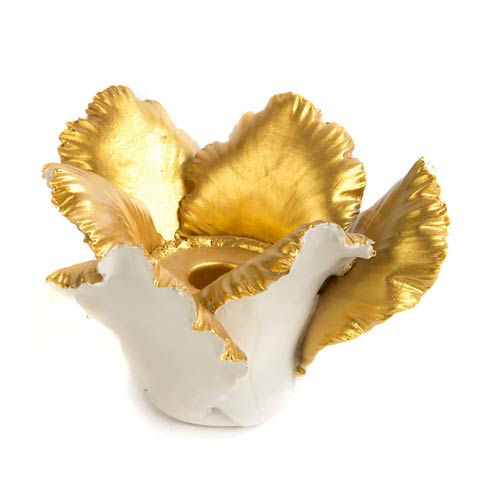 $44.00 Daffodil Candle Holder - Ivory & Gold
