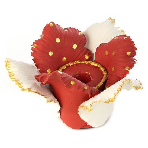 $48.00 Daffodil Candle Holder - Red & White