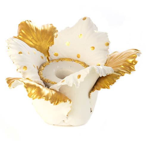 $48.00 Daffodil Candle Holder - Gold & White