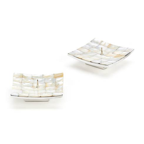 MacKenzie-Childs Glow Candleholders & Accessories Mother Of Pearl Candle Holders - Square - Set Of 2 $48.00