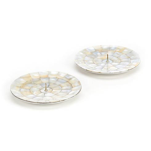 MacKenzie-Childs Glow Candleholders & Accessories Mother Of Pearl Candle Holders - Round - Set Of 2 $48.00
