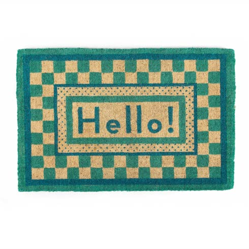 $125.00 Hello Entrance Mat - Aqua