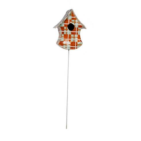 $72.00 Capiz Birdhouse Pick - Orange Plaid