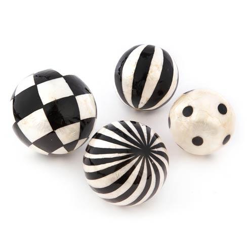 $58.00 Black & White Capiz Balls - Set Of 4