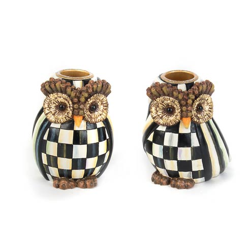 $78.00 Owl Candlesticks - Set Of 2