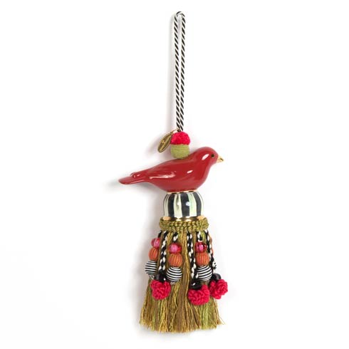 $98.00 Ceramic Bird Tassel - Red & Gold
