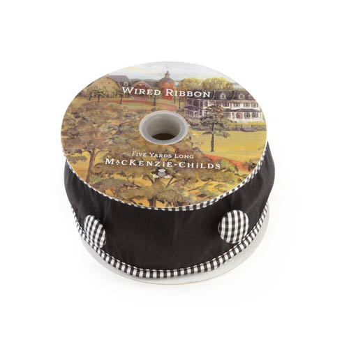 "$28.00 Black Button Check 2"" Ribbon"